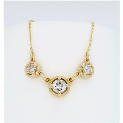 14KT Yellow Gold 0.90ctw Diamond Pendant with Chain
