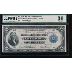 1918 $2 San Francisco Federal Reserve Bank Note PMG 30