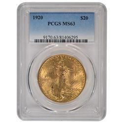 1920 $20 Saint Gaudens Double Eagle Gold Coin PCGS MS63
