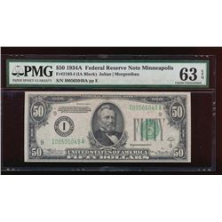 1934A $50 Minneapolis Federal Reserve Note PMG 63