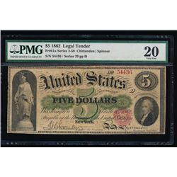1862 $5 Legal Tender Note PMG 20