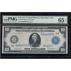1914 $10 New York Federal Reserve Note PMG 65EPQ