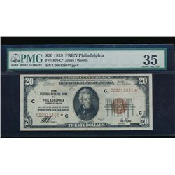 1929 $20 Philadelphia Federal Reserve Star Bank Note PMG 35