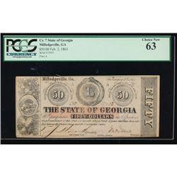 1862 $50 State of Georgia Obsolete Note PCGS 63