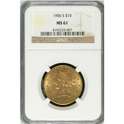 1906 $10 Liberty Head Eagle Gold Coin NGC MS61