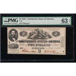 1862 $2 Confederate States of America Note PMG 63EPQ