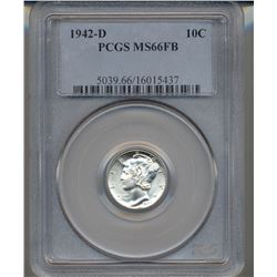 1942-D Mercury Dime Coin PCGS MS66FB