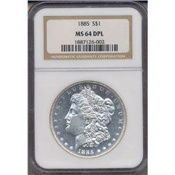 1885 $1 Morgan Silver Dollar Coin NGC MS64DPL
