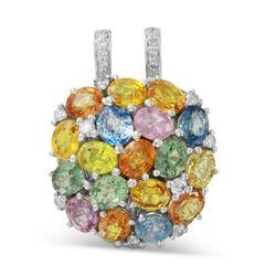 14KT White Gold 8.47ctw Multi Color Sapphire and Diamond Pendant