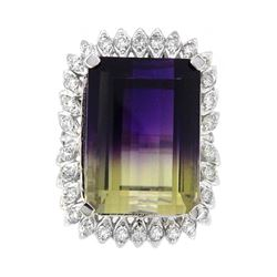 14KT White Gold 26.93ct Ametrine and Diamond Ring