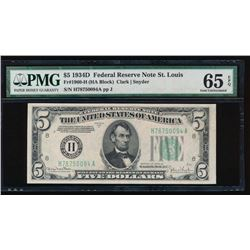 1934D $5 St. Louis Federal Reserve Note PMG 65EPQ