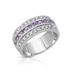 14KT White Gold 1.12ctw Pink Sapphire and Diamond Ring