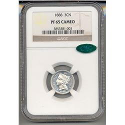 1888 Three Cent Coin NGC PF65 Cameo CAC
