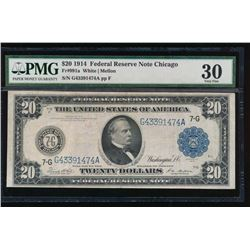 1914 $20 Chicago Federal Reserve Note PMG 30