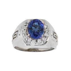 14KT White Gold 2.58ct Tanzanite and Diamond Ring
