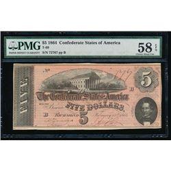 1864 $5 Confederate States of America Note PMG 58EPQ