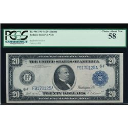1914 $20 Atlanta Federal Reserve Note PCGS 58