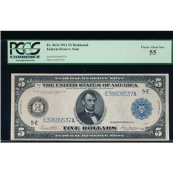 1914 $5 Richmond Federal Reserve Note PCGS 55