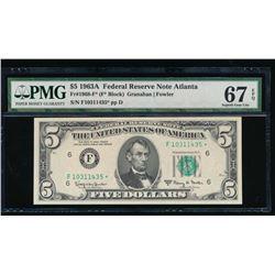 1963A $1 Atlanta Federal Reserve Star Note PMG 67EPQ