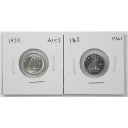 Lot (2) Canada Silver 10 Cents: 1939 and 1968 (CR)