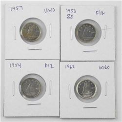 Lot (4) Canada Silver 10 Cent: 1953, 1954, 1957, 1