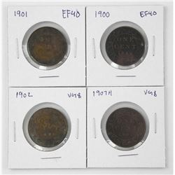 Lot (4) Canada Large Cent: 1900, 1901, 1902, 1907H