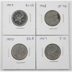 Lot (4) Canada Silver 25 Cent: 1943, 1947 ML, 1956