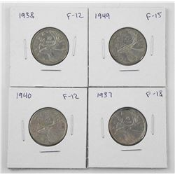 Lot (4) Canada 25 Cent: 1937, 1938, 1940, 1949 (KR