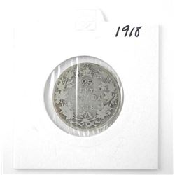 1918 25 Cent .925 Silver George V