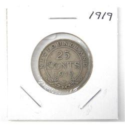 1919 25 Cent .925 NFLD George V