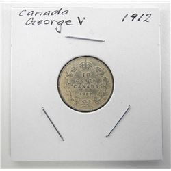 1912 Canada Silver 10 Cents George V