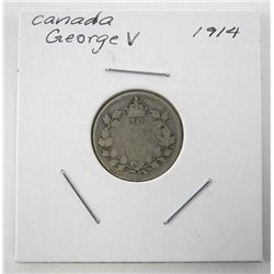 1914 Canada Silver 10 Cents George V