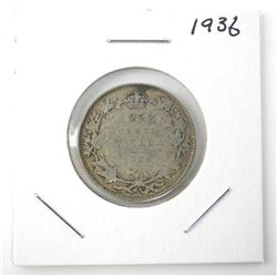 1936 25 Cent .800 Silver George V