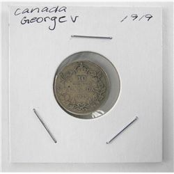 1919 Canada Silver 10 Cents George V