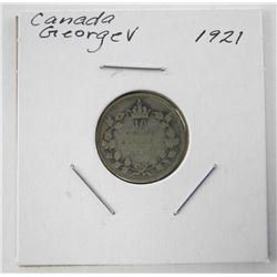 1921 Canada Silver 10 Cents George V