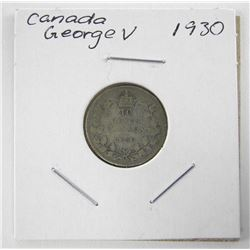 1930 Canada Silver 10 Cents George V