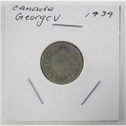 1934 Canada Silver 10 Cents George V