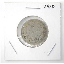 1910 25 Cent 925 Silver Edward VII