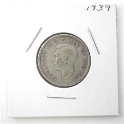1939 25 Cent .800 Silver George VI