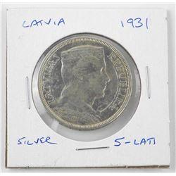 Latvia 1931 Silver 5 Lati