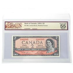 Bank of Canada 1954 2.00 Modified Portrait UNC 55 BCS