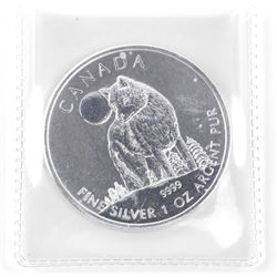 2011 .9999 Fine Silver $5.00 Coin 'Wolf' 1st Issue