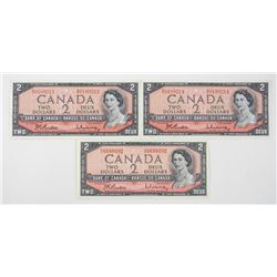 Lot (3) Bank of Canada 1954 Modified Portrait 2.00 UNC B/R
