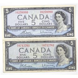 Lot (2) Bank of Canada 1954 Five Dollar Notes. Modified Portrait.