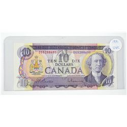 Bank of Canada 1971 Ten Dollar Note. B/R UNC
