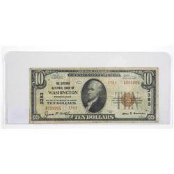 1929 USA Bank of Washington 10.00 Red Seal