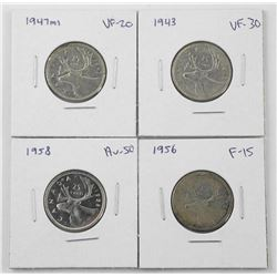 Lot (4) Canada 25 Cent: 1948, 1955, 1957, 1959 (CR