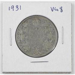 1931 Canada Silver 50c. VG8.