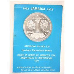 1962-1972 Jamaica 10.00 Specimen UNC Edition .925