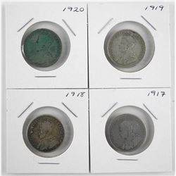 Lot (4) George V Silver 25 Cent 1917-1918-1919-192